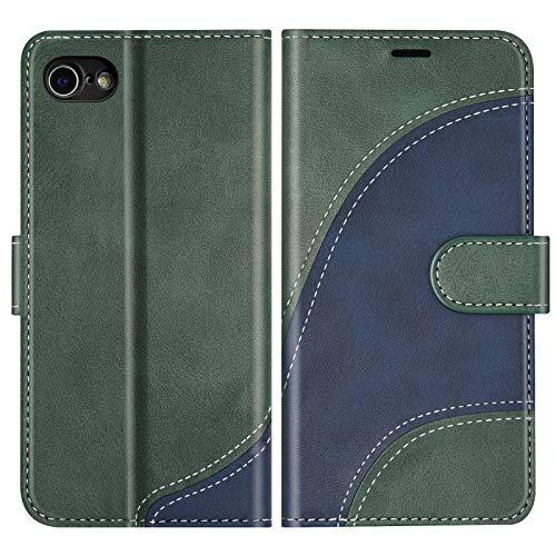 BoxTii Cover per iPhone SE 2020 / iPhone 8 / iPhone 7, Custodia in PU Pelle Portafoglio per iPhone SE 2020 / iPhone 8 / iPhone 7, Magnetica Cover a Libro con Slot per Schede, Verde