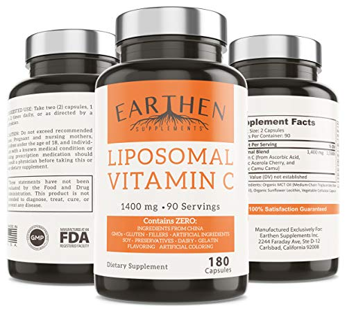 Liposomal Vitamin C | Made with Organic Ingredients | 1400MG Per Serving | 180 Capsule - 90 Serving | China Free | Non GMO | Fat Soluble - High Absorption Antioxidant | Immune System Support