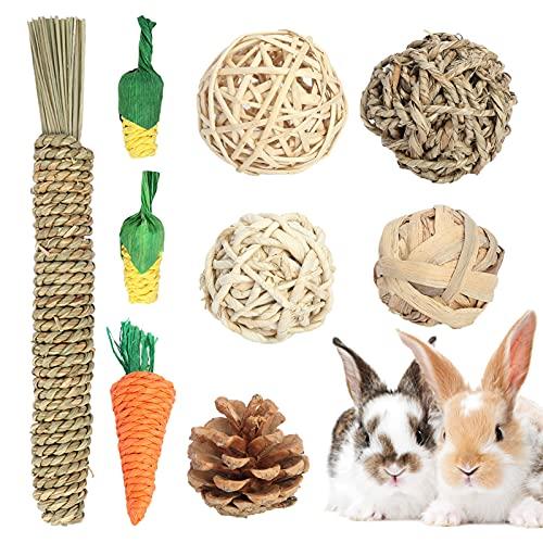 Washranp 9 bolas para masticar para conejos, cobayas, chinchillas, material natural, juguete para morder 🔥
