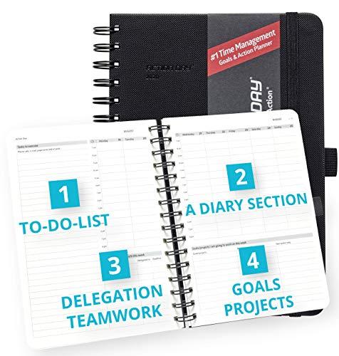 Action Day Planner 2020 - # 1 Time Management Design Dat maakt het gemakkelijk voor u om dingen gedaan, Dagelijks Wekelijks Maandelijks Jaarblad, Agenda, Gebonden, Zak, Pen Loop, Dik Papier (6x8,Zwart)