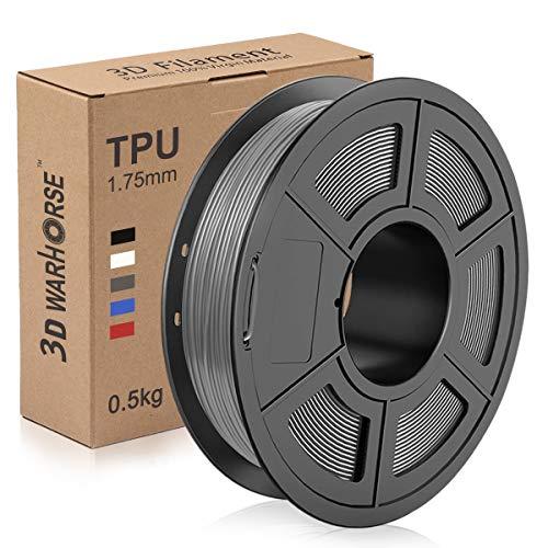 TPU 3D Printer Filament 1.75mm, Dimensional Accuracy +/- 0.03 mm, 0.5 Kg Spool, Flexible Grey