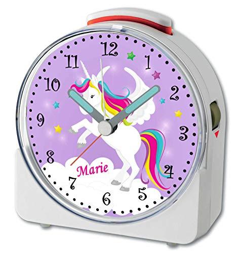CreaDesign, WU-71-1034-05, Einhorn Lila, analog Kinderwecker weiß, Funkwecker mit Sweep-Uhrwerk und fluoreszierenden Zeiger und Licht, personlisiert mit Namen, 10,2 x 4,6 x 11 cm