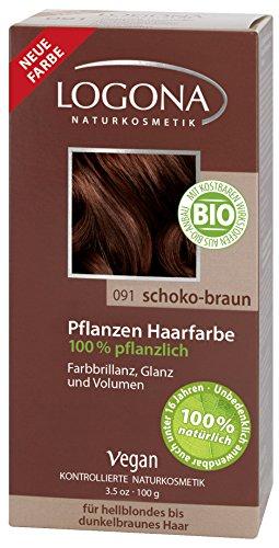 LOGONA Naturkosmetik Coloration Pflanzenhaarfarbe, Pulver - 091 Schoko-Braun - Braun, Natürliche & pflegende Haarfärbung
