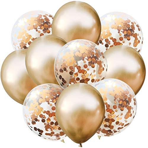 Oblique Unique® Konfetti Luftballon Set für Geburtstag Feier Jubiläum Hochzeit JGA Party Deko Ballons Champagner
