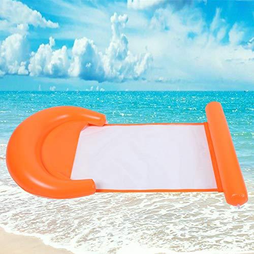 Queta Amaca d'Acqua, Nuotatore Gonfiabile Galleggiante Letto Pieghevole Reclinabile Float Portable Pool Float per Adulti e Bambini, Arancione
