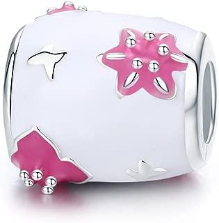 Butterfly Flower Love Heart 925 Sterling Silver Bead Fits European Charm Bracelet (Pink Enamel)