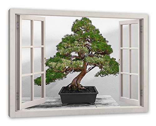 Pixxprint Bonsai Baum, Fenster Leinwandbild  Größe: 80x60 cm   Wandbild   Kunstdruck
