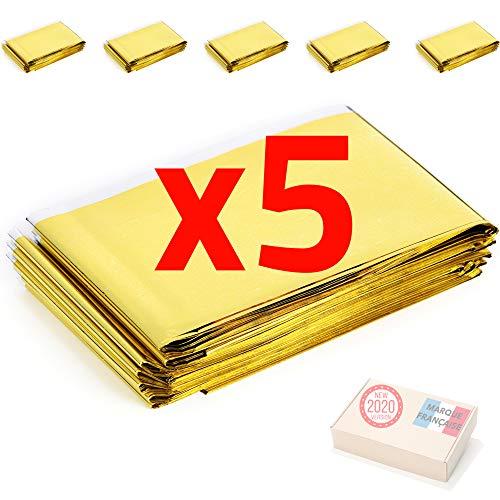 Takit Rettungsdecke x5 - Extra Groß - 210x160 cm - Wasserfest - Mylar Überleben Folie Decke Erwärmung Für Camping, Wandern, Erste Hilfe - Gold & Grau