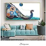 YHZSML Elefante Pared Graffiti Pinturas sobre Lienzo En la Pared Carteles e Impresiones Animales Arte Impresiones sobre Lienzo Cuadros de Pared para niños Habitación 1 50x100cm