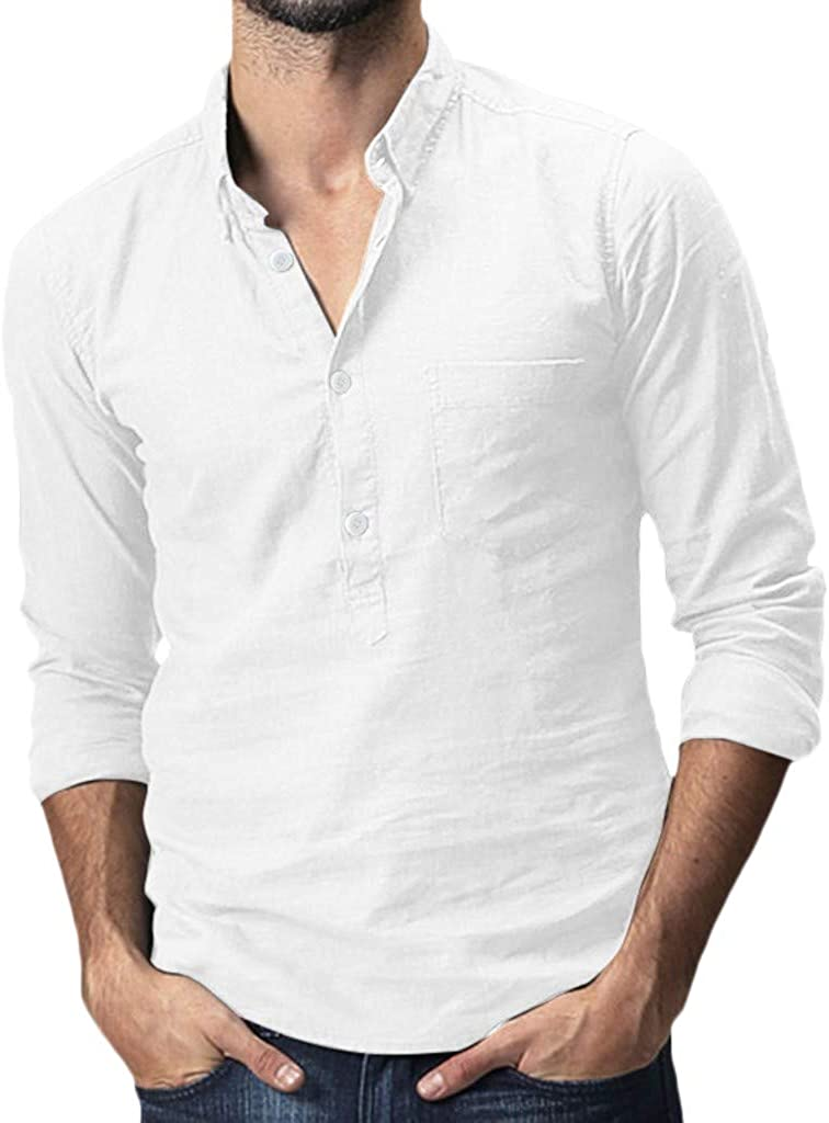 XXBR Henley Shirts for Mens, Cotton Linen Front Placket Button Lapel Collar Tops Long Sleeve Casual Shirt with Pocket