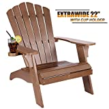 OT QOMOTOP Brown Adirondack Chair, Poly Lumber Weatherproof Chair with Cup Holder, 38L 30.25W 41.5H Inches Oversized Fire Pit Chairs for Patio, Outdoor Lawn, Pool, Porch