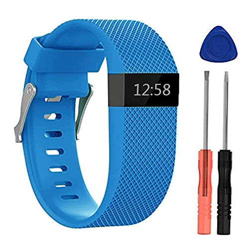 Replacement Bands for Fitbit HR Watch, Silicone Compatible Metal Buckle Fitness Tracker Original Wristband Strap Small&Large