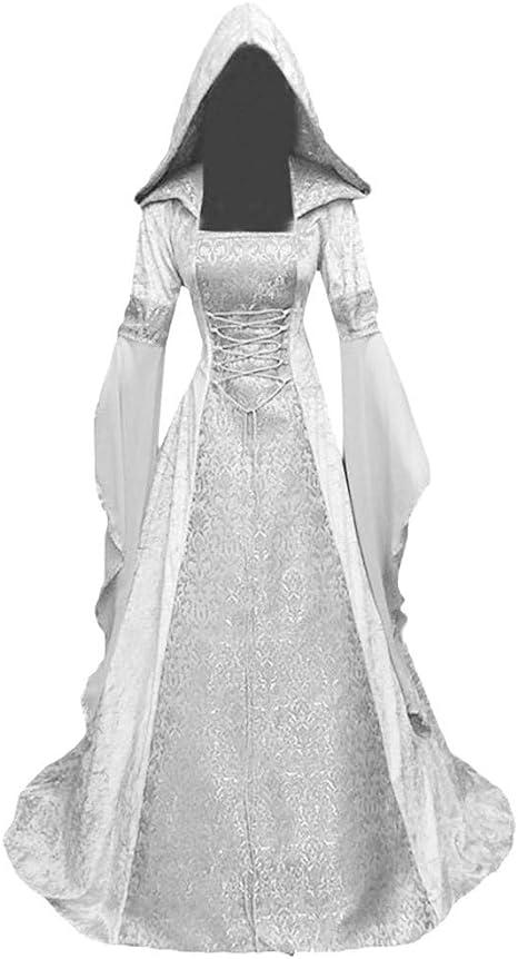 Women/'s Vintage Medieval Dress Costume Hooded Victorian Renaissance Gothic Dress