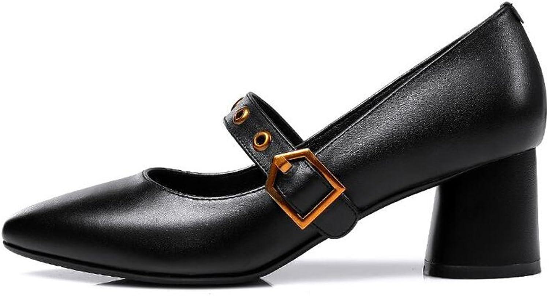 CJC shoes Shallow Mouth Ladies Women Middle Heels Elegant Office Work (color   Black, Size   EU36 UK4)