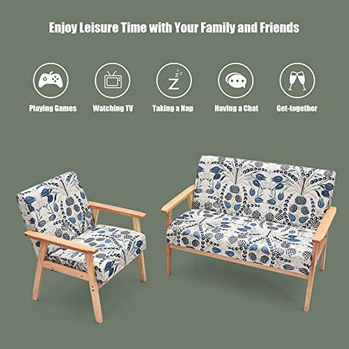POWERSTONE Upholstered Loveseat and Accent Chair Set, Modern Fabric Arm Chair and 2-Seat Wooden Loveseat Sofa Couch for Living Room, Dinning Room and Office (Blue, Loveseat Set)