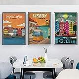 SXXRZA Impressions pour Murs 3 pièce 20x30cm No Frame Voyage Monde Ville Voyage Minimaliste Affiche De Voyage Rétro Voyage Amsterdam Lisbonne Affiche Imprimé Mur Art Décor