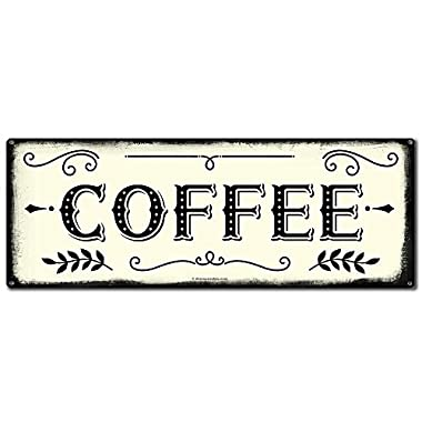 "Coffee ~ Farmhouse Decor Signs ~ 6"" x 16"" Metal Sign ~ Rustic Vintage Wall Decor for Home, Restaurant, Cafe, Diner, Coffee Shop ~ Gifts for Farmers, Farm Theme Lovers, Housewarming (RK3011_6x16)"