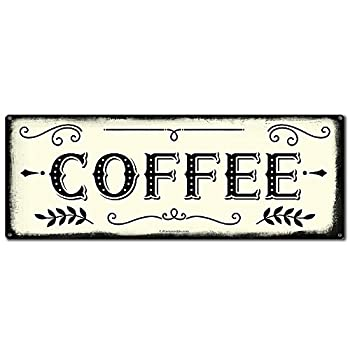 Coffee 6 x 16 Inch Metal Farmhouse Sign Rustic Vintage Wall Decor for Home Restaurant Cafe Diner Coffee Shop Farm Theme Gifts for Farmers Ranchers Animal Lovers Housewarming RK3011 6x16