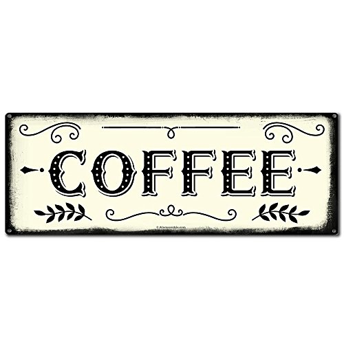 Coffee, 6 x 16 Inch Metal Farmhouse Sign, Rustic Vintage Wall Decor for Home, Restaurant, Cafe, Diner, Coffee Shop, Farm Theme Gifts for Farmers, Ranchers, Animal Lovers, Housewarming, RK3011 6x16