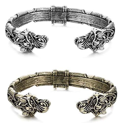 LUDAXUE 2 unids gran fenrir pulsera artesanal nórdica nórdica anillo de brazo de metal con cabezas de lobo doble vikingo pulsera para hombres joyería pagana vikingo Lobo cabeza pulsera brazalete de mo
