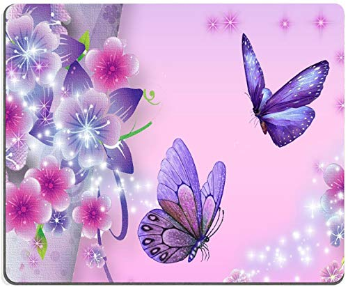 """Purple Butterfly Mouse Pad,Gaming Non-Slip Rubber Base Mouse Pads for Computers Laptop Office, 9.5""""x7.9""""x0.12"""" Inch(240mm x 200mm x 3mm)"""