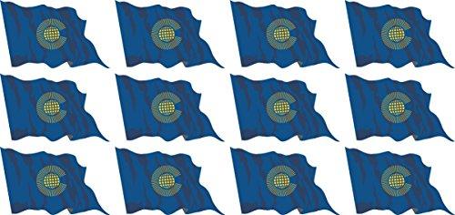 Mini Fahnen - Flaggen Set wehend - 50x31mm - Aufkleber - Commonwealth - Sticker fürs Büro, Schule und zu Hause - 12 Stück