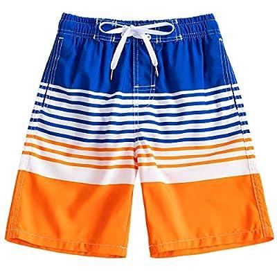 Kute 'n' Koo Boys Swim Trunks, UPF 50+ Quick Dry Striped Boys Swim Shorts, Boys Bathing Suit (14/16, Striped 3)