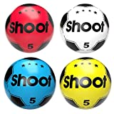 (Pack of 4) Soccer Shoot PVC football For Kids (Deflated) Lightweight Party pack Adjustable Inflatable ball Suitable For Indoor Outdoor Play Beach, Home, Birthday, School & Parties Assorted Colors