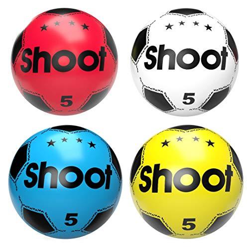 (Paquete de 4) Balón de fútbol de plástico para niños, fácil de inflar, ligero, adecuado para juegos en interiores al aire libre, playa, parque, hogar, cumpleaños, escuela y fiestas, multicolor