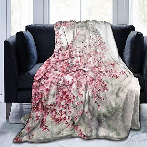 OIVLA Manta de Sofá,Manta de Lana,Sakura Japanese Flower Throw Blanket Ultra Soft Blanket Warm Thick Blanket for Home Bed Blankets Bedspreads for Adults Children