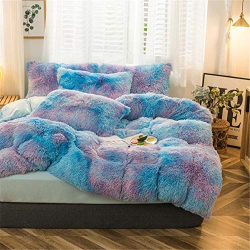 Plush Shaggy Duvet Cover Queen Size, Velvet Bedding Set, 3 Pieces (1 Faux Fur Duvet Cover + 2 Faux Fur Pillowcases), Luxury Soft Fluffy, Zipper Closure (Multicolor Blue, Queen)