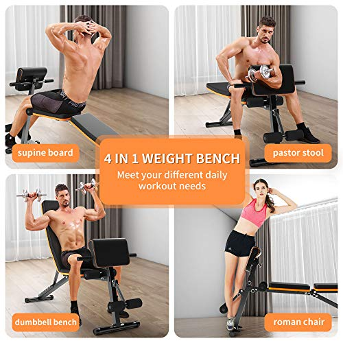 Adjustable Weight Bench Press,Foldable Workout Bench Sit Up Incline, Multi-Purpose Bench, TrainingBench forHomeGym Foldable Flat/Incline/Decline FID Bench Press for Full Body Workout