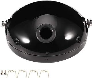 Motorrad Runde Scheinwerferabdeckung, Motorrad Lampengehäuse, 7 Zoll Aluminium Motorrad Modifikation LED Scheinwerfer Scheinwerfer Gehäuse Abdeckung(Schwarz)