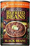 Amy's Light in Sodium Vegetarian Organic Refried Beans, Black, 15.4 Ounce (Pack of 6)...
