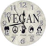 Meili Shop Reloj de Pared Relojes Vegetarianos Veganos Reloj de Pared Redondo Duradero Reloj Ligero