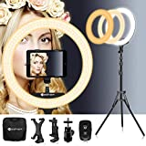 18 Inch Ring Light with Tripod Stand iPad Holder LED Ringlight Color Temperature 3200K to 5500K Makeup Ringlights with Phone Holder Carry Bag Camera Video Shoot Selfie Portrait