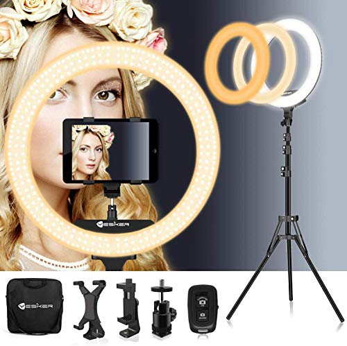18 Inch Ring Light with Tripod Stand iPad Holder YouTube LED TikTok Ringlight Color Temperature 3200K to 5500K Makeup Ringlights with Phone Holder Carry Bag Camera Video Shoot Selfie Portrait