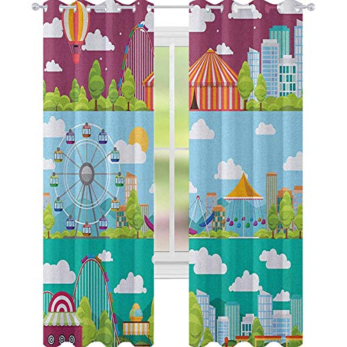 YUAZHOQI Circus Thermal Insulated Blackout Curtain Conceptual City Banners with Carousels Slides and Swings Ferris Wheel Attraction Curtains for Bedroom 52' x 95' Multicolor