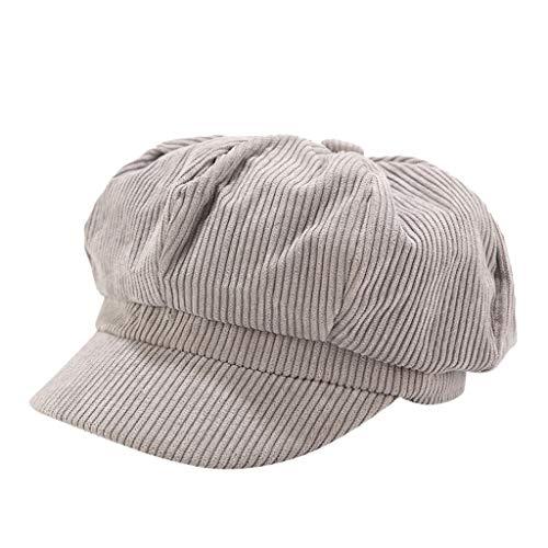 Sannysis Schirmmütze Einfacher Stil Vintage Baskenmütze Damen Bakerboy Mütze Cord Kappe Sommer Herbst Ballonmütze Barett Cap Grau