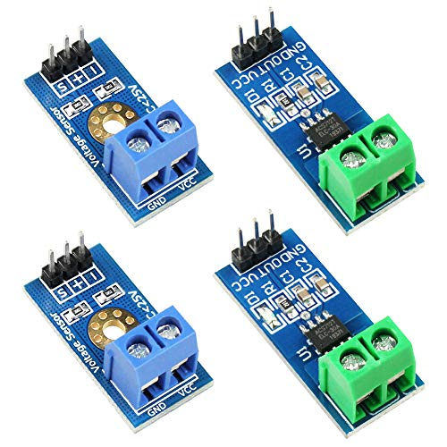 WayinTop 2pcs ACS712 Hall Effect Current Sensor Module 30A Range ACS712 Module + 2pcs Voltage Sensor Module DC0-25V Voltage Tester Terminal Sensor for Arduino