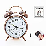 ELECPOINT [Loud Sound for Deep Sleepers] 4'' Twin Bell Alarm Clock with Backlight, Battery Operated, Loud...