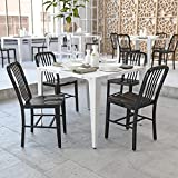 Flash Furniture Juego de 2 sillas de metal, para uso en interiores y exteriores, calidad comercial, color Negro