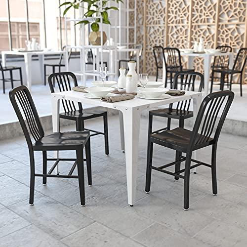 Flash Furniture Metallstuhl mit Rückenlehne – Esszimmerstühle für den Innen- und Außenbereich – Küchenstühle ideal für die gewerbliche Nutzung – 2er-Set – Schwarz