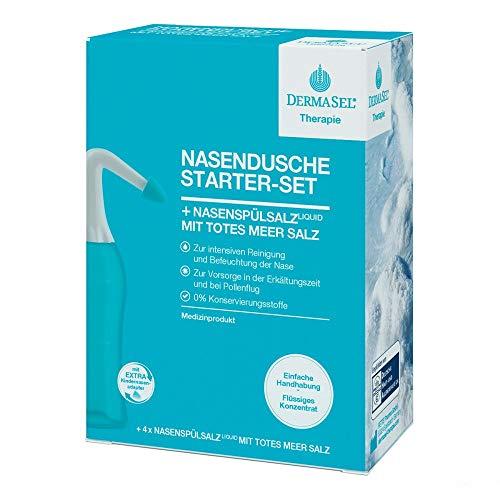 DERMASEL NASENDUSCHE STARTER-SET mit Totes Meer Salz I die effektive Lösung bei Erkältung, Schnupfen, Allergie und trockener Nase