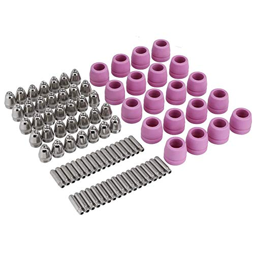 90Pcs/Set Plasma Cutter Torch Consumables Electrode Nozzles Cups Kit,Galvanized Copper,Ceramic