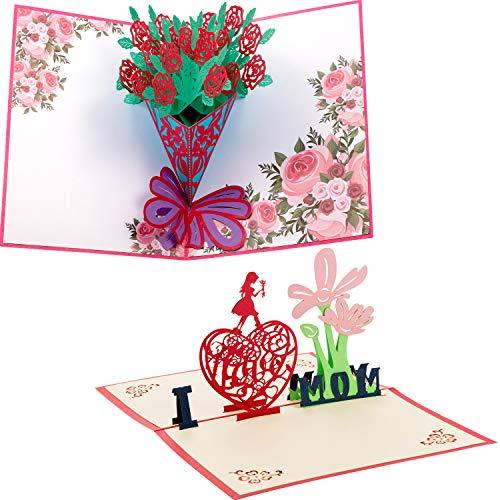 Tarjeta de Día de Madre 3D de Cumpleaños Tarjeta de Felicitación de Pop up para Madre Tarjeta de I Love Mom con Sobre (2 Piezas, Estilo 1)