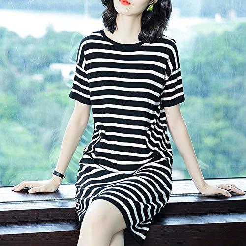 BINGQZ Cocktail Jurken Temperament jurk vrouwelijke lange ronde hals T-shirt rok zomer mode korte mouwen vroege herfst gestreepte gebreide rok