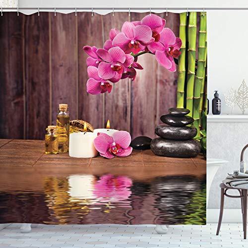 ABAKUHAUS SPA Cortina de Baño, SPA Relax Flor Vela, Material Resistente al Agua Durable Estampa Digital, 175 x 180 cm, Rosa Umber Verde