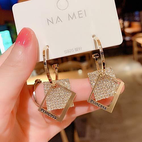 Pendientes de moda para mujer con colgante cuadrado de metal, diseño geométrico, para boda (color de metal: 1, tamaño: normal)