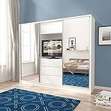 PSK BMF 'TV250' Armario moderno de 250 cm de ancho con puerta corredera con espejo para televisión, color blanco